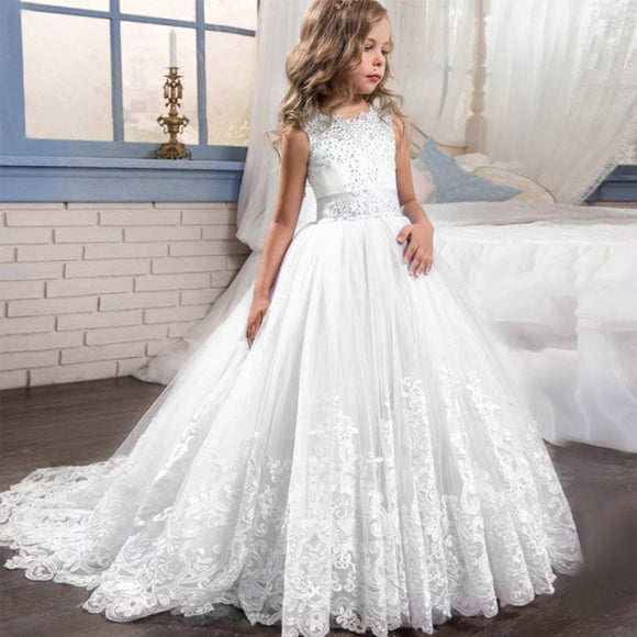 Wedding Dress White Formal long Lace Princess Dress for Girls 3-14 Years