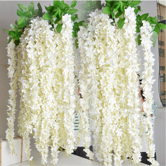 Wholesale 10pcs Rattan Strip Wisteria Artificial Flower Vine For Wedding Home Party Kids Room Decoration DIY Fake Flowers