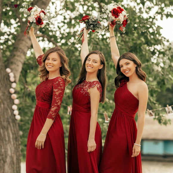 Chiffon Burgundy Bridesmaid Dress