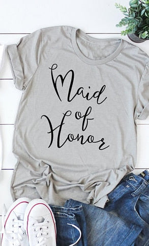 Bride maid of honor t-shirt Romantic wedding clothes fashion pretty cotton gift tees bridesmaid team tops casual quality tshirt