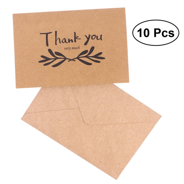 10pcs Kraft Paper THANK YOU Cards Folding Greeting Card Vintage Wedding Favor Card (18)