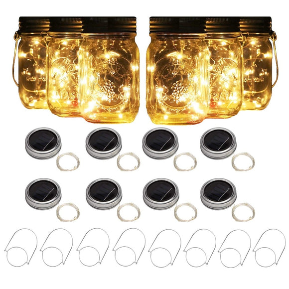 8 Solar Powered Mason Jar Lights