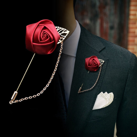 Red Rose Flowers Lapel Brooch