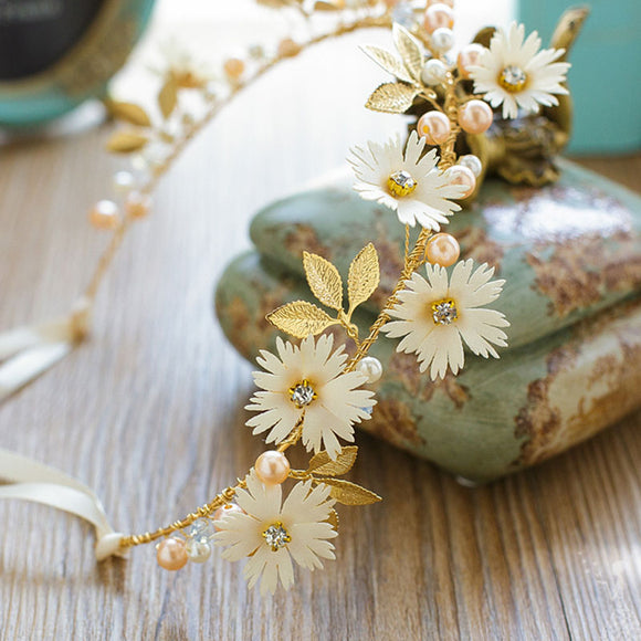 Gold Leaf Daisy Headband