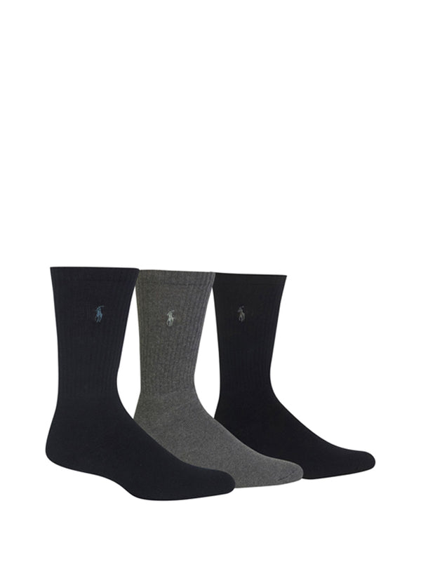 Men's Classic Rib Cushioned Foot Crew With Polo Player Embroidery 3 Pack 8428PK