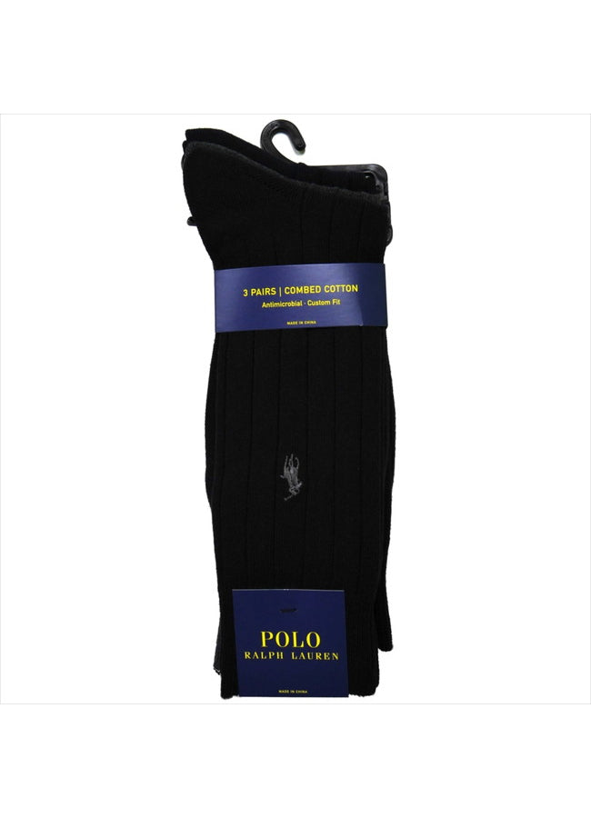 Classic Cotton/Spandex Cushioned Foot Crew With Polo Player Embroidery 8092PK-2