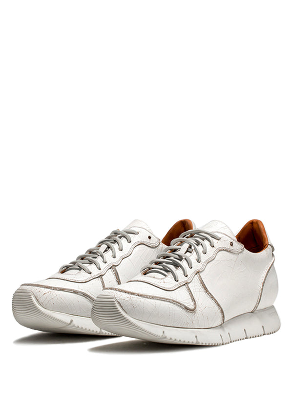 White Craquele' Leather Carrera Sneakers