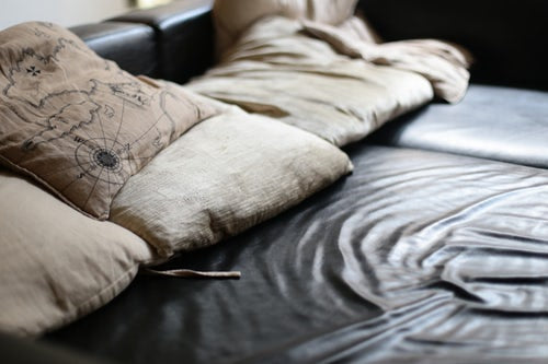 Designer pillows printed with directions map