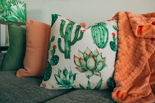 Unique pillows with printed plant designs