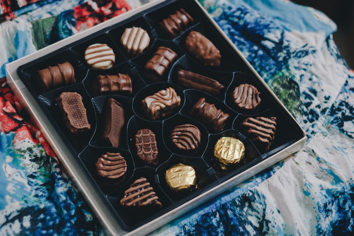 chocolate decorated in a box