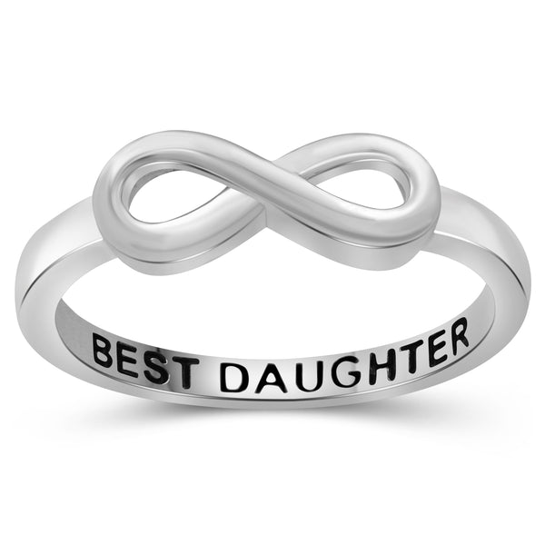 JewelonFire Sterling Silver Infinity Friendship Ring for Women | Personalized Best Daughter Promise Eternity Knot Symbol Band