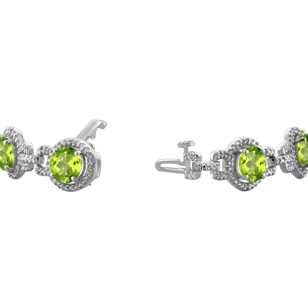 JewelonFire 14 1/5 Carat T.G.W. Peridot and White Diamond Accent Sterling Silver Bracelet