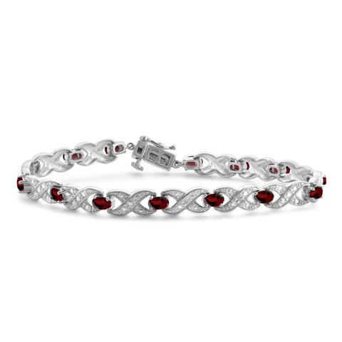 JewelonFire 4 1/2 Carat T.G.W. Garnet And White Diamond Accent Sterling Silver Bracelet - Assorted Colors
