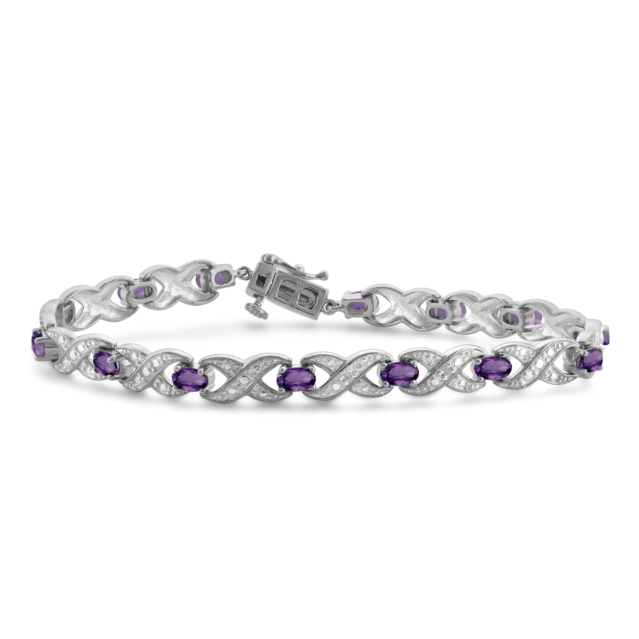 JewelonFire 3 1/5 Carat T.G.W. Amethyst And White Diamond Accent Sterling Silver Bracelet - Assorted Colors