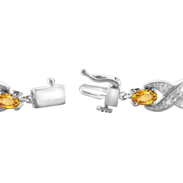 JewelonFire 3.00 Carat T.G.W. Citrine And White Diamond Accent Sterling Silver Bracelet - Assorted Colors
