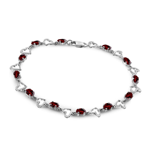 JewelonFire 4.00 Carat T.G.W. Garnet Sterling Silver Bracelet - Assorted Colors