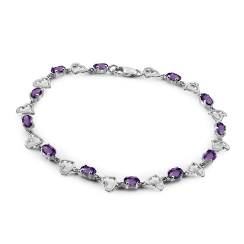 JewelonFire 2 3/4 Carat T.G.W. Amethyst Sterling Silver Bracelet - Assorted Colors