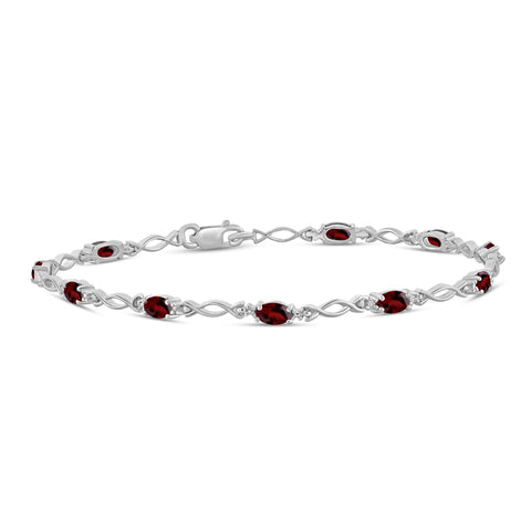 JewelonFire 3 1/3 Carat T.G.W. Garnet And White Diamond Accent Sterling Silver Bracelet - Assorted Colors