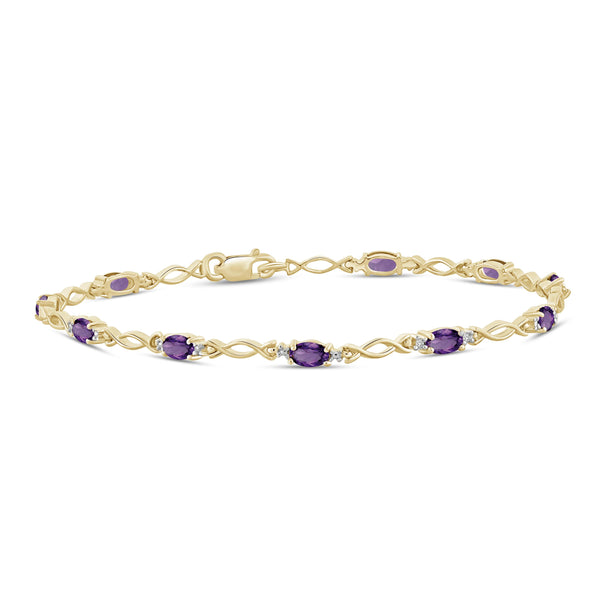 JewelonFire 2 1/3 Carat T.G.W. Amethyst And White Diamond Accent Sterling Silver Bracelet - Assorted Colors