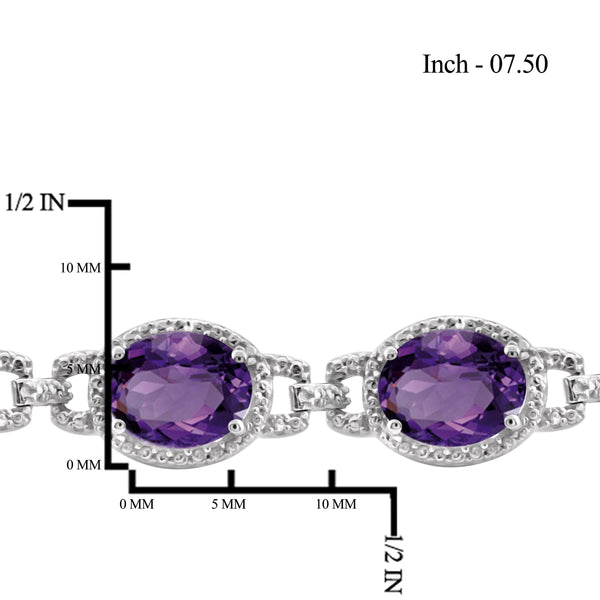 JewelersClub 18 1/7 Carat T.G.W. Amethyst And White Diamond Accent Sterling Silver Bracelet - Assorted Colors