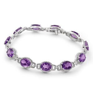 JewelonFire 18 1/7 Carat T.G.W. Amethyst And White Diamond Accent Sterling Silver Bracelet - Assorted Colors