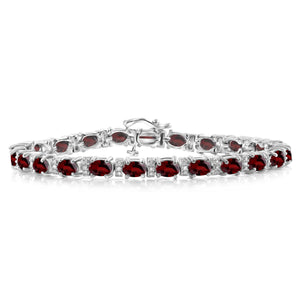 JewelonFire 12.50 Carat T.G.W. Genuine Garnet And White Diamond Accent Sterling Silver Bracelet - Assorted Colors