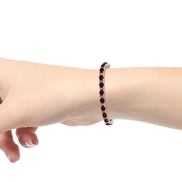 JewelonFire 21.00 Carat T.G.W. Garnet And White Diamond Accent Sterling Silver Bracelet - Assorted Colors
