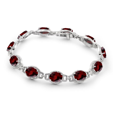 JewelonFire 23.00 Carat T.G.W. Garnet And 1/20 Carat T.W. White Diamond Sterling Silver Bracelet - Assorted Colors