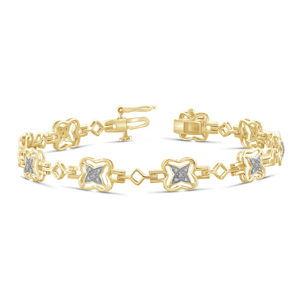 JewelonFire White Diamond Accent 14kt Gold Plated Brass Bracelet, 7.25""
