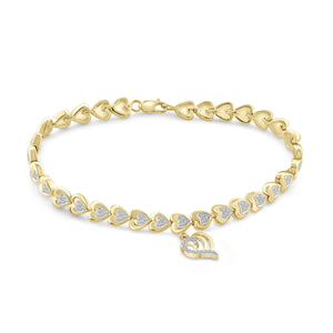 JewelonFire White Diamond Accent 14kt Gold Plated Brass Heart Bracelet, 7.50""
