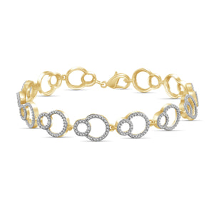 JewelonFire White Diamond Accent 14kt Gold Plated Brass Bracelet, 7.50""
