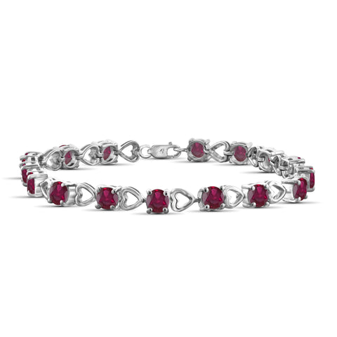 JewelonFire 10.85 Carat T.G.W. Genuine Ruby Sterling Silver Bracelet - Assorted Colors