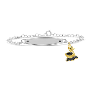 JewelonFire 1/10 Ctw Black Diamond Two-Tone Sterling Silver Baby Duck Bracelet