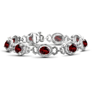JewelersClub 13.50 Carat T.G.W. Garnet And 1/20 Carat T.W. White Diamond Sterling Silver Bracelet - Assorted Colors