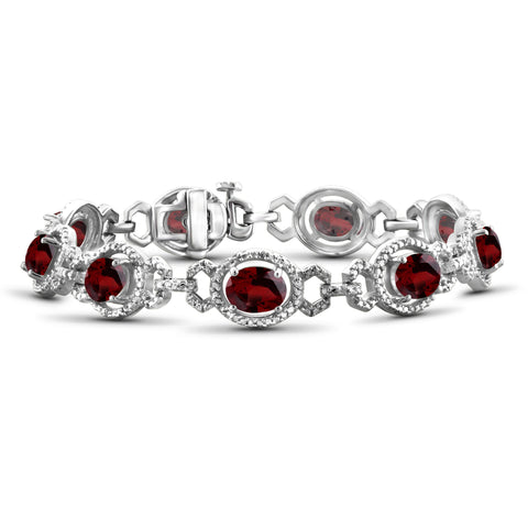 JewelonFire 13.50 Carat T.G.W. Garnet And 1/20 Carat T.W. White Diamond Sterling Silver Bracelet - Assorted Colors