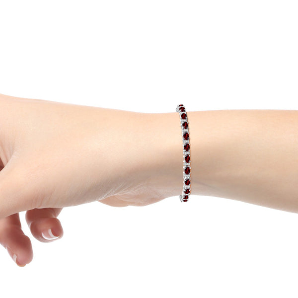 JewelonFire 12.50 Carat T.G.W. Garnet And 1/4 Carat T.W. White Diamond Sterling Silver Bracelet - Assorted Colors