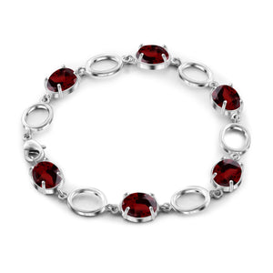 JewelonFire 13.00 Carat T.G.W. Garnet Sterling Silver Bracelet - Assorted Colors