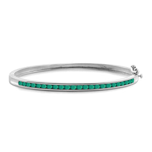 JewelersClub 2.30 Carat T.G.W. Genuine Emerald Sterling Silver Bangle - Assorted Colors
