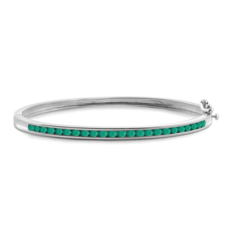 JewelonFire 2.30 Carat T.G.W. Genuine Emerald Sterling Silver Bangle - Assorted Colors