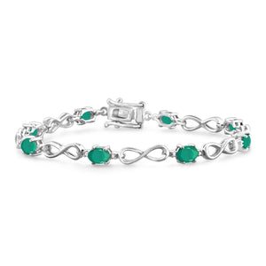 JewelonFire 3.00 Carat T.G.W. Genuine Emerald & White Diamond Accent Sterling Silver Bracelet - Assorted Colors