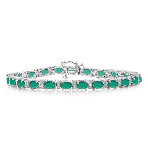 JewelonFire 8.74 Carat T.G.W. Genuine Emerald & White Diamond Accent Sterling Silver Bracelet - Assorted Colors