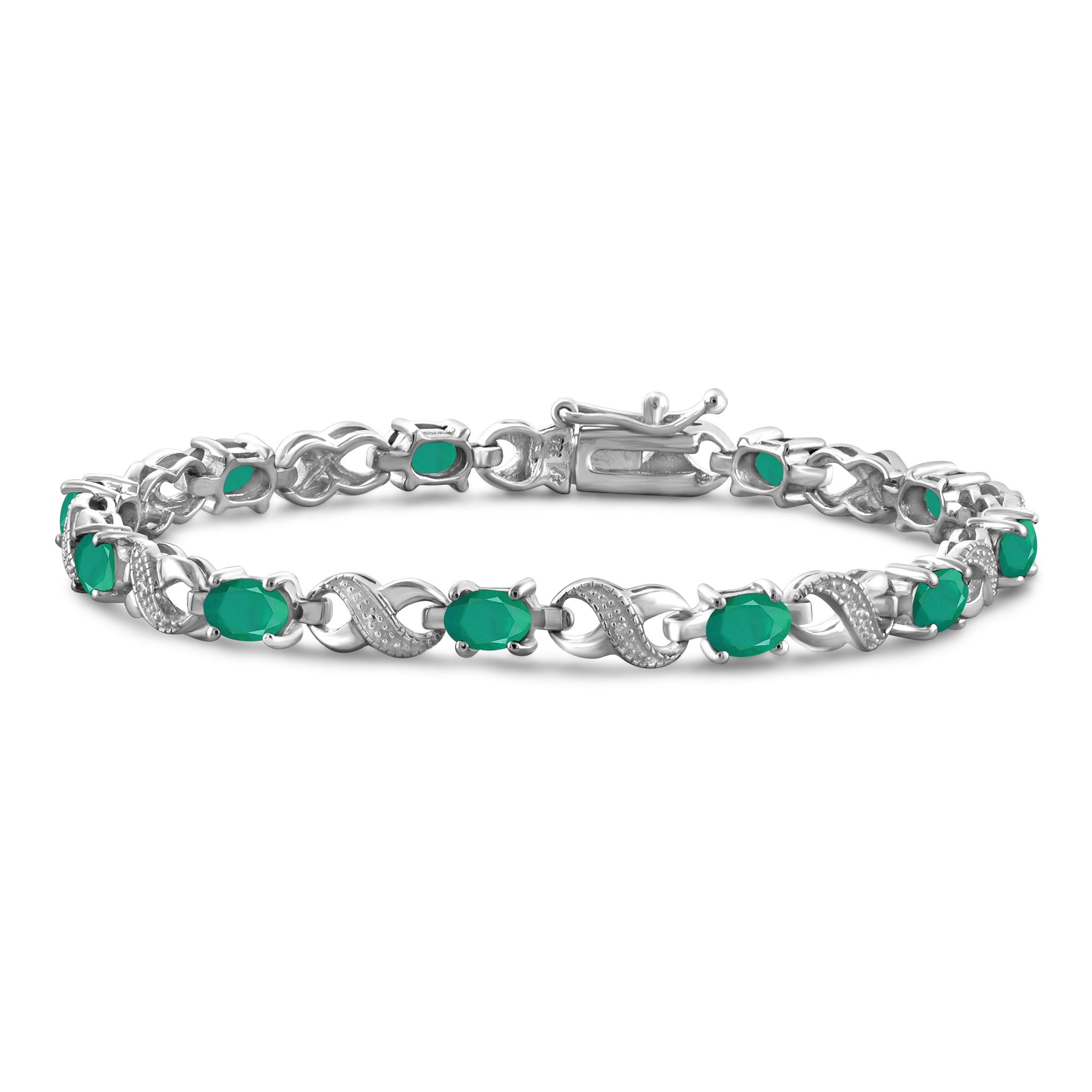 JewelonFire 4.15 Carat T.G.W. Genuine Emerald & White Diamond Accent Sterling Silver Bracelet - Assorted Colors