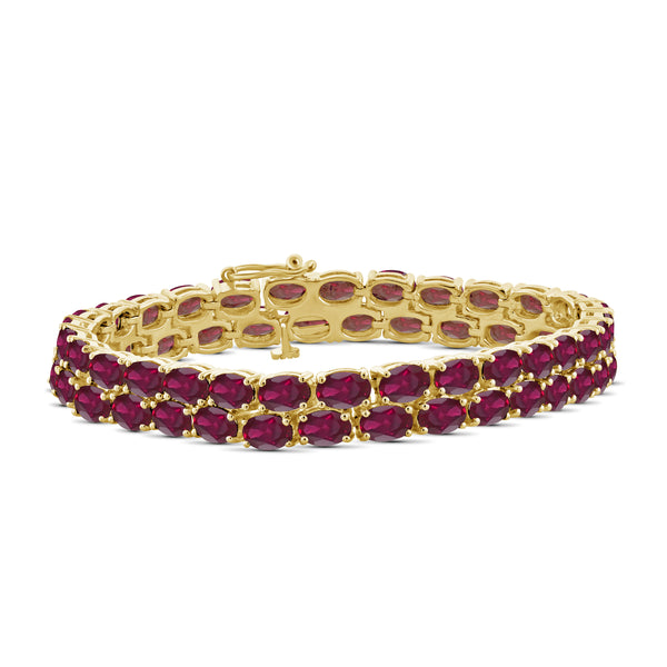 JewelonFire 28.80 Carat T.G.W. Genuine Ruby Sterling Silver Bracelet - Assorted Colors