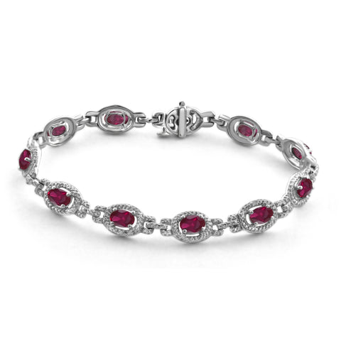JewelonFire 5.30 Carat T.G.W. Ruby And 1/20 Carat T.W. White Diamond Sterling Silver Bracelet - Assorted Colors