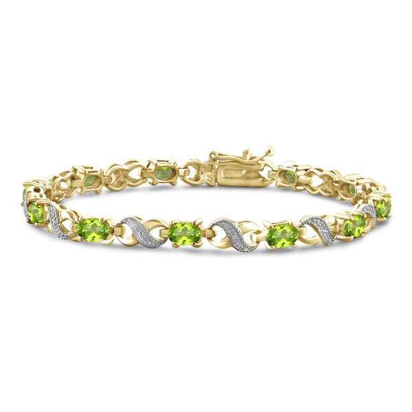 JewelonFire 5 3/4 Carat T.G.W. Peridot And White Diamond Accent Sterling Silver Bracelet - Assorted Colors
