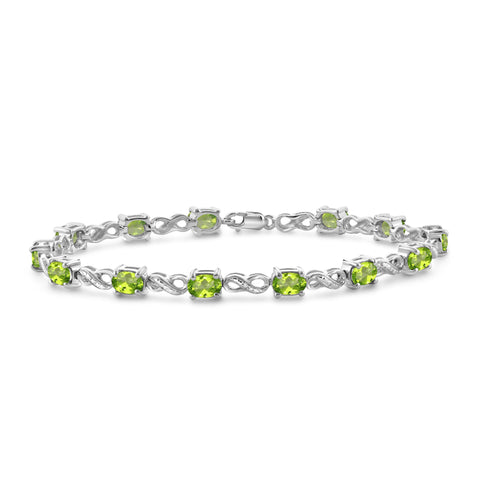 JewelonFire 6 1/4 Carat T.G.W. Peridot And White Diamond Accent Sterling Silver Bracelet - Assorted Colors