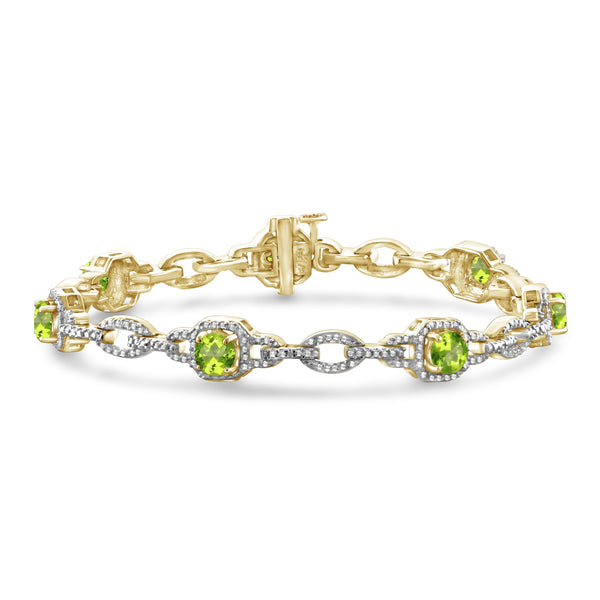 JewelonFire 3.00 Carat T.G.W. Peridot And White Diamond Accent Sterling Silver Bracelet - Assorted Colors