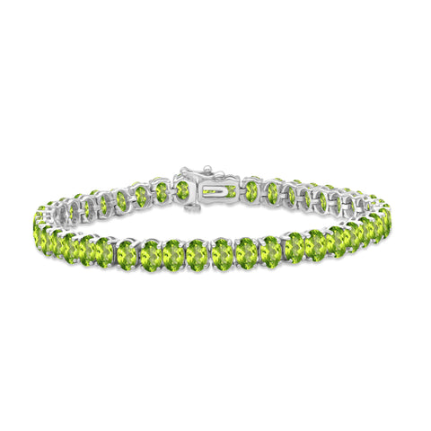 JewelonFire 20 1/2 Carat T.G.W. Peridot Sterling Silver Bracelet - Assorted Colors