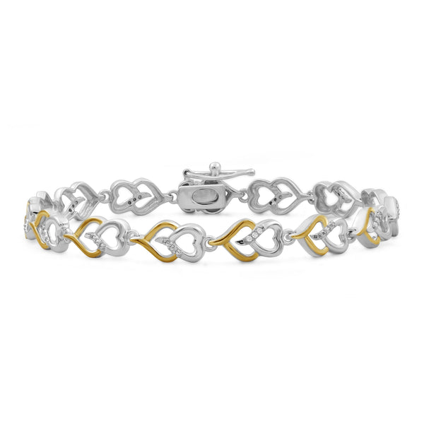 JewelonFire Accent White Diamond Two Tone Silver Heart Bracelet