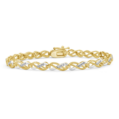 JewelersClub Accent White Diamond Two Tone Silver Infinity Bracelet